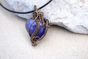 Fairy purple Agate heart wire wrapped pendant by IanirasArtifacts
