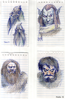 Fantasy Portraits, Sketches by FrostieFilly