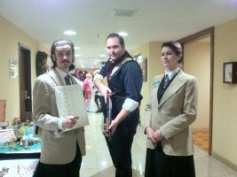 Anime Crossroads 2013 - Lutece Twins and Booker by GoodDokCosplay