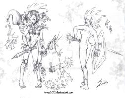 Sketch warrior girls by TOMO2012