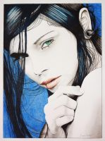 Green eyed lady emotion by spice63