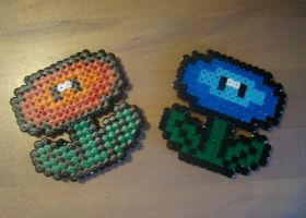 Fire and Ice Flowers - Mario Hama Beads by Nidoran4886
