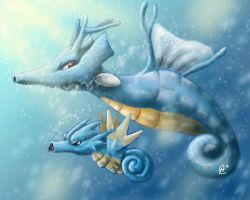 Kingdra and seadra by Tripplerz