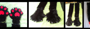 Black+Red Wolf Handpaws and Tail by CuriousCreatures