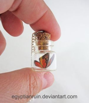 Tiny Monarch Butterfly Bottle Necklace by egyptianruin