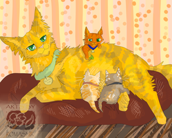 Firestar mother with his sisters. Warriors. by Romashik-arts