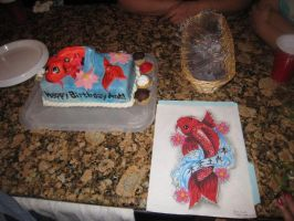 Koi Fish Cake and Drawing by Keep-It-Sweet