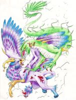 Dragon vs. Gryphon by Ikasama
