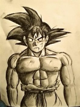 Goku charcoal drawing by PyroDragoness