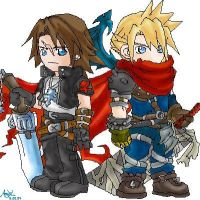 Leon and Cloud--Chibi Style by amy-liu