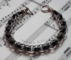 Black and silver helmsweave bracelet by TerraNovaJewels