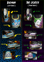 Batman and Joker Shoe -detail- by silencedwhispers
