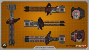 M3X-600 Cerberus heavy weapon ME2 wallpaper by rex3cutor