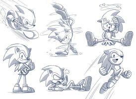 Sonic the Hedgehog sketches by glitcher