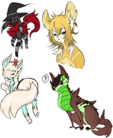 Sketch some OCs by Hackwolfin
