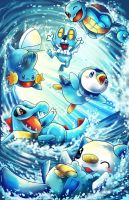 pokemon water starters with froakie by michellescribbles