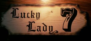 Lucky Lady Tavern Sign - wood burning by ckatt01