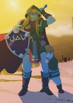 The Blue Eyed Beast (Warrior(left)/SS link(right) by NathanAdonis