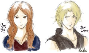 Clary and Jace  ~ Sketch by SanyKn