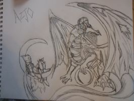 Dragon lord and his moon dragon art trade for azjo by aleiz