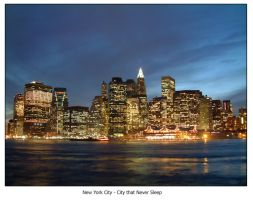 Manhattan Night Scene by hh