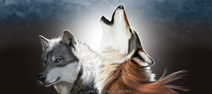 Two Wolves Banner by sugarpoultry
