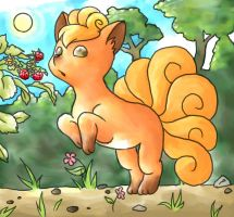 Vulpix reaching for berries by cerasly