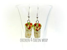 Chicken and Bacon Wrap Earrings by minivenger