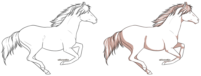 Horse Line art 1 by CatLuvsCookies