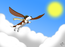 Flying Basset by ToonSkribblez