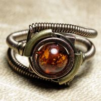 steampunk ring with amber by CatherinetteRings