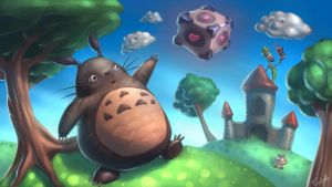 Totoro in Marioland by Cane-force
