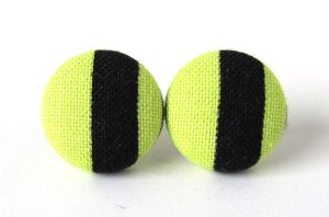 Stud earrings neon fluorescent lime green black by KooKooCraft