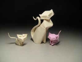 Origami cats by HTQuyet