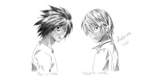 Light and L Death Note by FateSunset