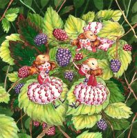 Fairies and blackberries by frecklednose124