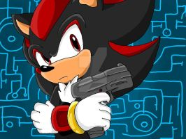 Shadow The Hedgehog with Gun by ShadowStaar