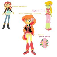 Sunset Shimmer and Apple Blossom Fusion by DoraemonFan4Life