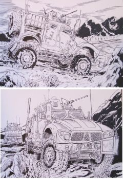 2 M-ATV Drawings Military trucks in combat by BROKENHILL