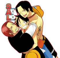 Luffy, Shanks and Ace by Hisagi-Chan