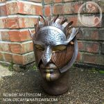 Silver Warrior leather costume mask by nondecaf