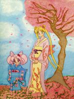 Usagi and Chibiusa, Cherry Blossom Time by Dolly-M00N