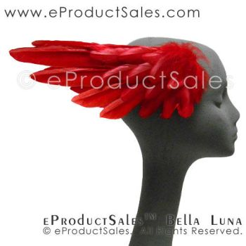 Bella Luna Feather Angel Wings head clip in Red by eProductSales