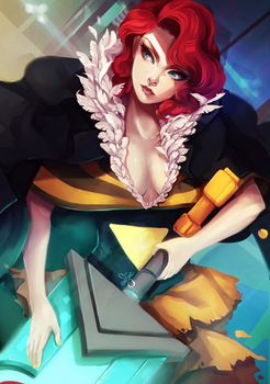The Crimson-Haired Chanteuse by ERDJIE