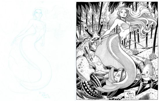 Little Mermaid Commission. PreLim to Finished Inks by WaldenWong