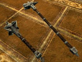 Iron mace and hammer (other angle) by isaac77598