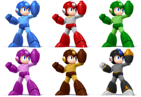 Mega Man SSB4 Recolors by shadowgarion