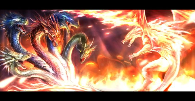 Tiamat VS FireDragon by Beriuos