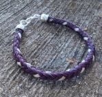 Braided Horsehair Bracelet - Purple/White by TarpanBeadworks