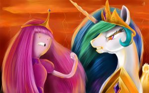 Bubblegum and Celestia by Nightshroud